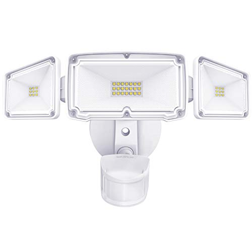 Amico 3 Head LED Security Lights with Motion Sensor, Adjustable 40W, 4000LM, 5000K, IP65 Waterproof, Exterior Flood Light for Garage, Yard(White)