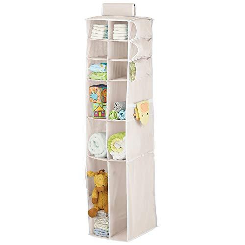 mDesign Long Soft Fabric Over Closet Rod Hanging Storage Organizer with 12 Divided Shelves, Side Pockets for Child/Kids Room or Nursery, Store Diapers, Wipes, Lotions, Toys - Cream/White
