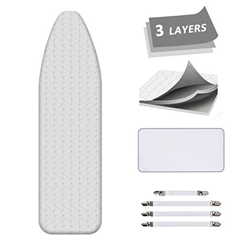 AUSHEN Ironing Board Cover and Pad Extra Thick Padding Silver Coated Scorch and Stain Resistant 15 x 54 inch Replacement Iron Board Cover with Elastic Edge 4 Fasteners 1 Protective Scorch Mesh Cloth