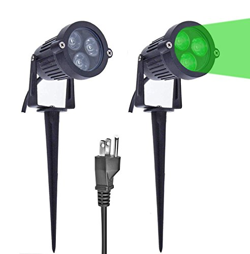 LemonBest Pack of 2 Outdoor Water-Resistant LED Lawn Garden Landscape Lamp Wall Yard Path Patio Lighting Spot Lights Green AC Spiked Stand with Power Plug