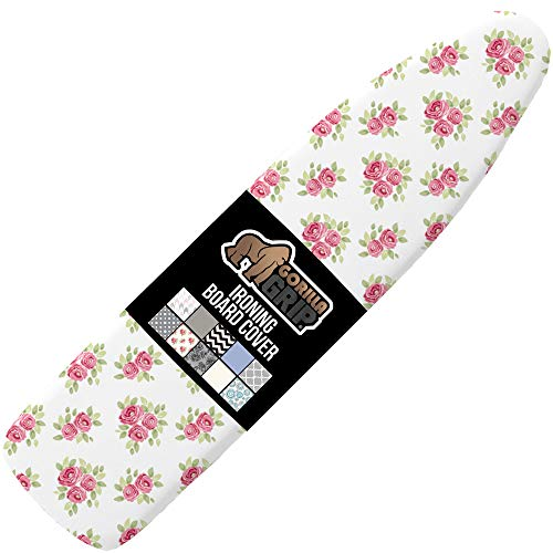 Gorilla Grip Reflective Silicone Ironing Board Cover, Resist Scorching and Staining, 15x54, Hook and Loop Fastener Straps, Pads Fit Large and Standard Boards, Elastic Edge, Thick Padding, Pink Floral