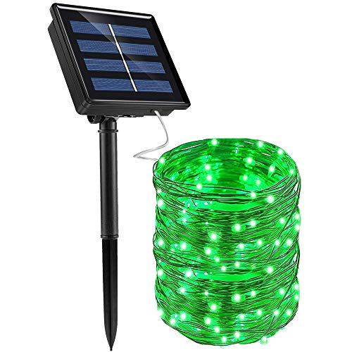 ArtDIY Solar String Lights,1 Pack 8 Modes 72Ft 200 LED Solar Powered String Lights, Green Solar Fairy Lights Outdoor Waterproof for Homes Wedding Party Holiday Decorations (Green)