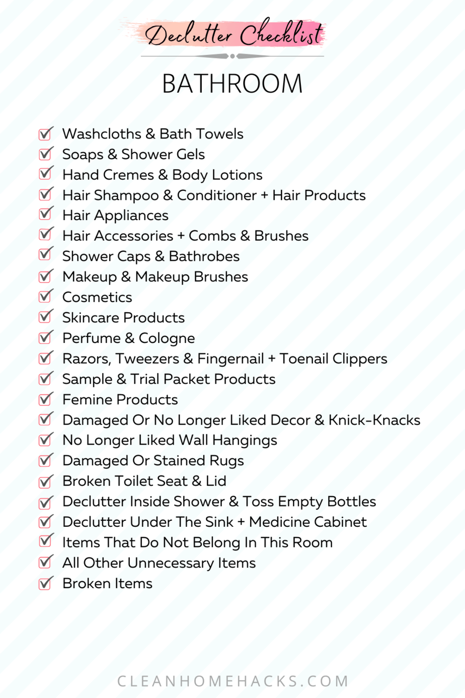 itemized list to declutter bathroom