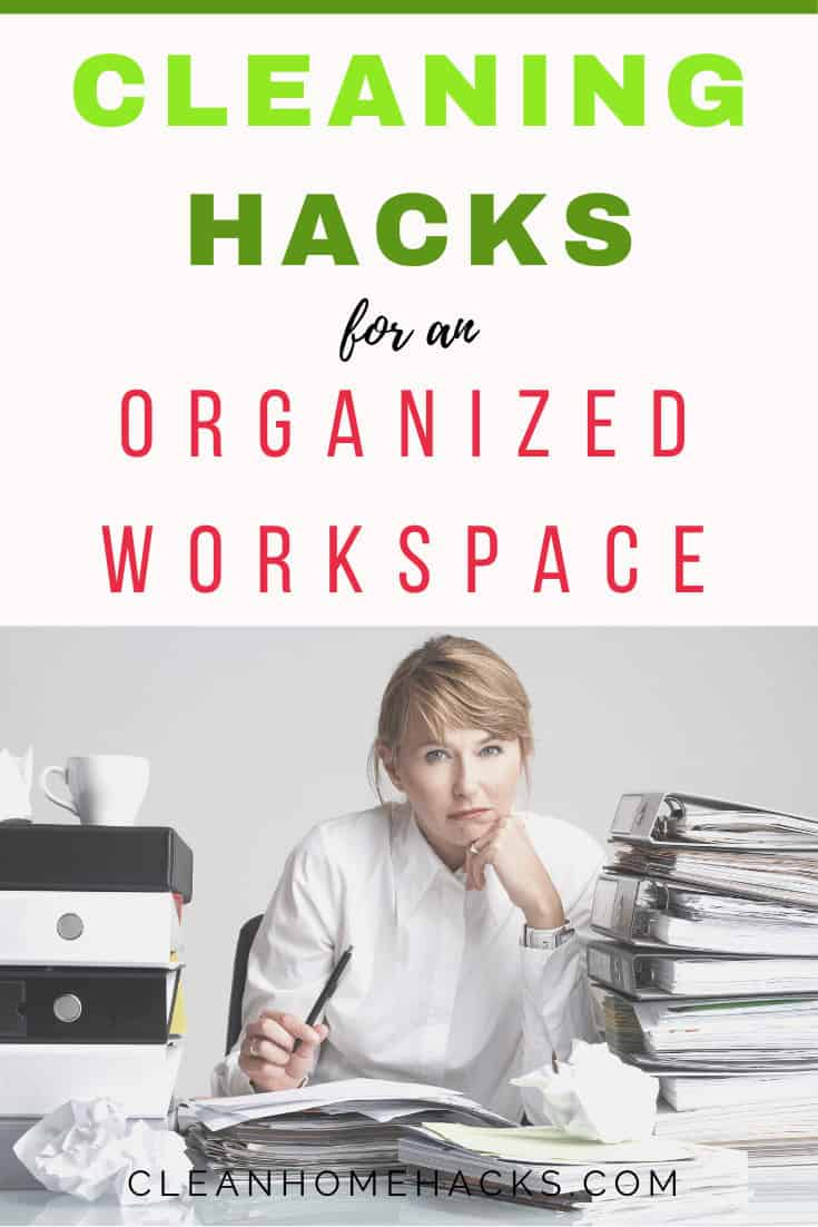 pinterest image for post 7 No-Fail Ways To Keep Your Workspace Organized When You're Tired Of Moving The Stacks Everyday