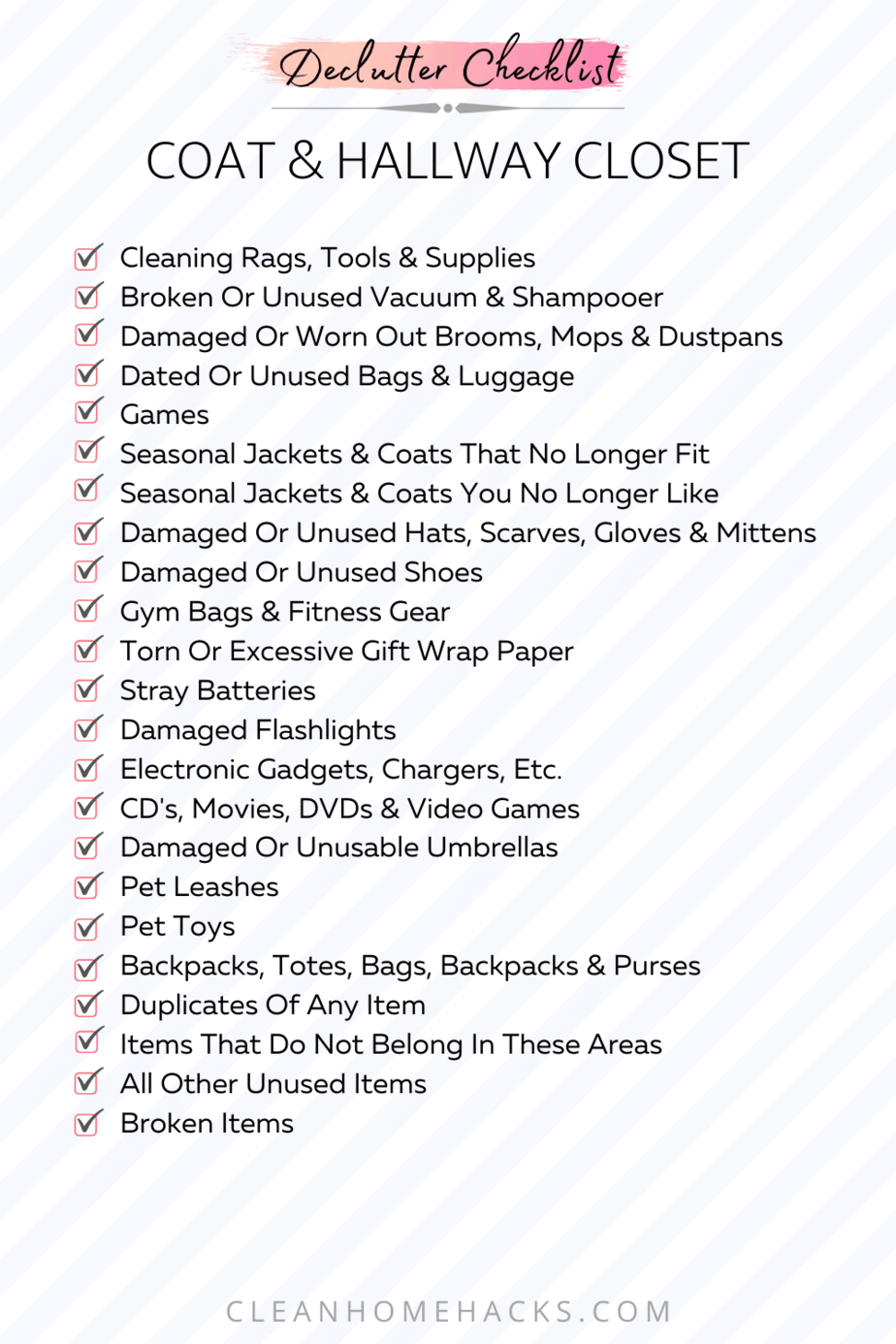 itemized list to declutter coat and hallway closet