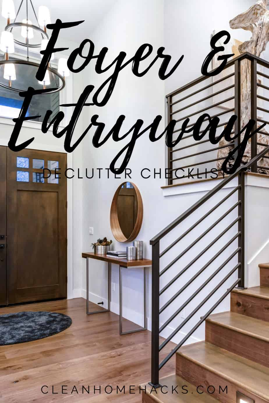 pinterest image foyer and entryway declutter checklist