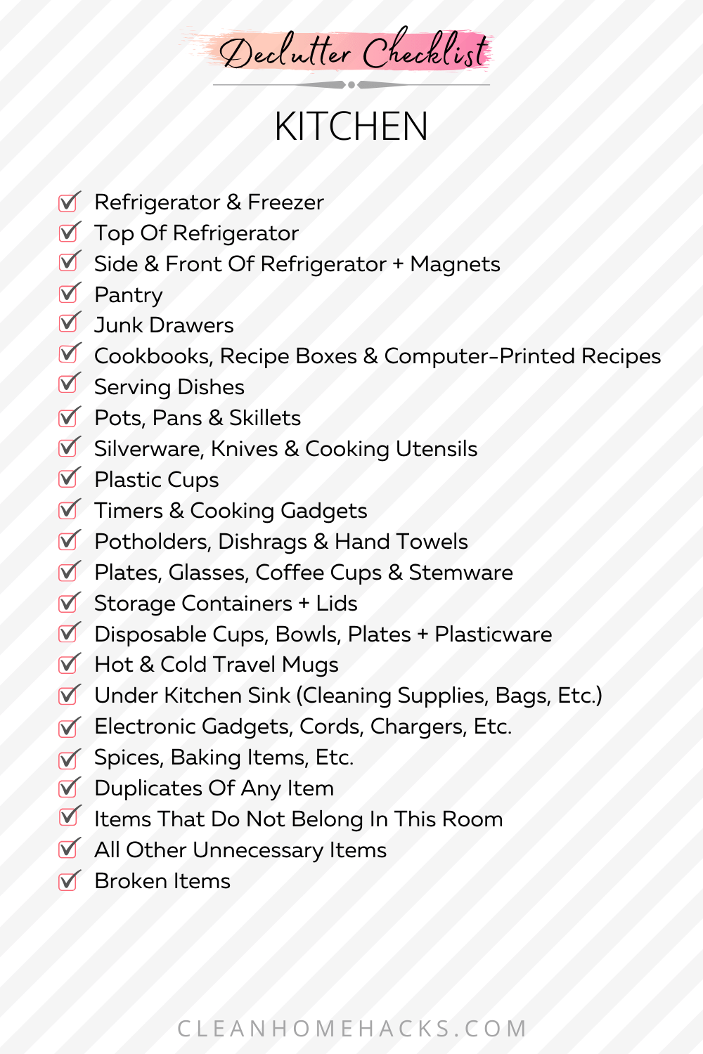 itemized list to declutter