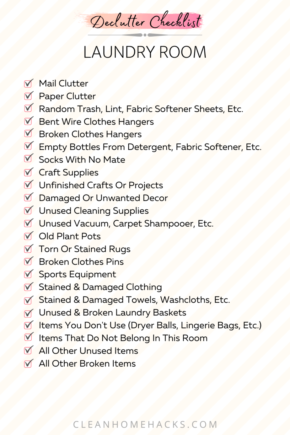 itemized list to declutter the laundry room