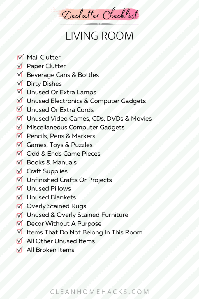 list of items to declutter in living room