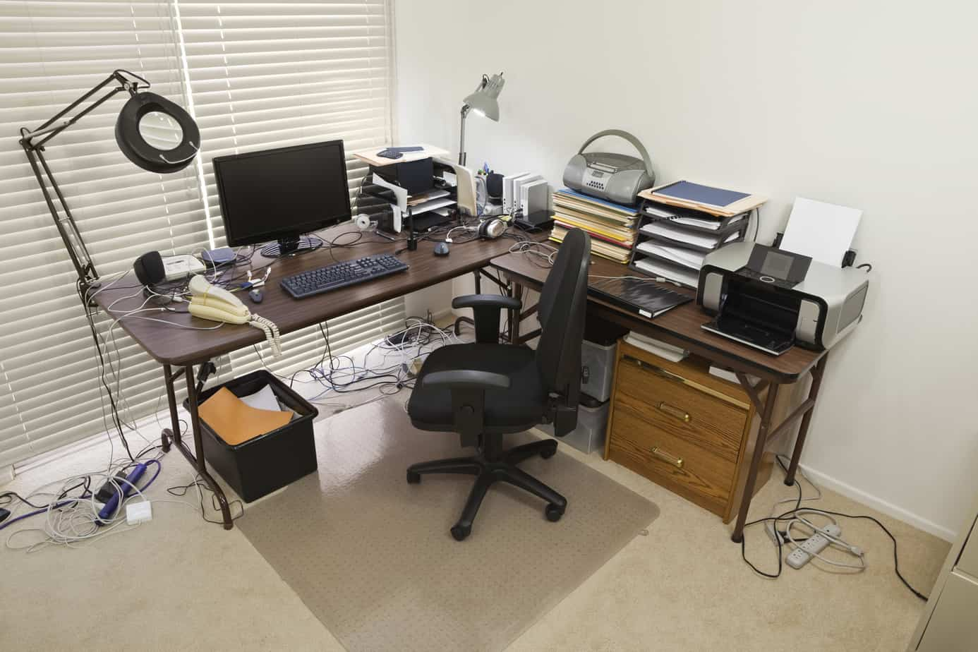 Home Office with Chaotic Cords