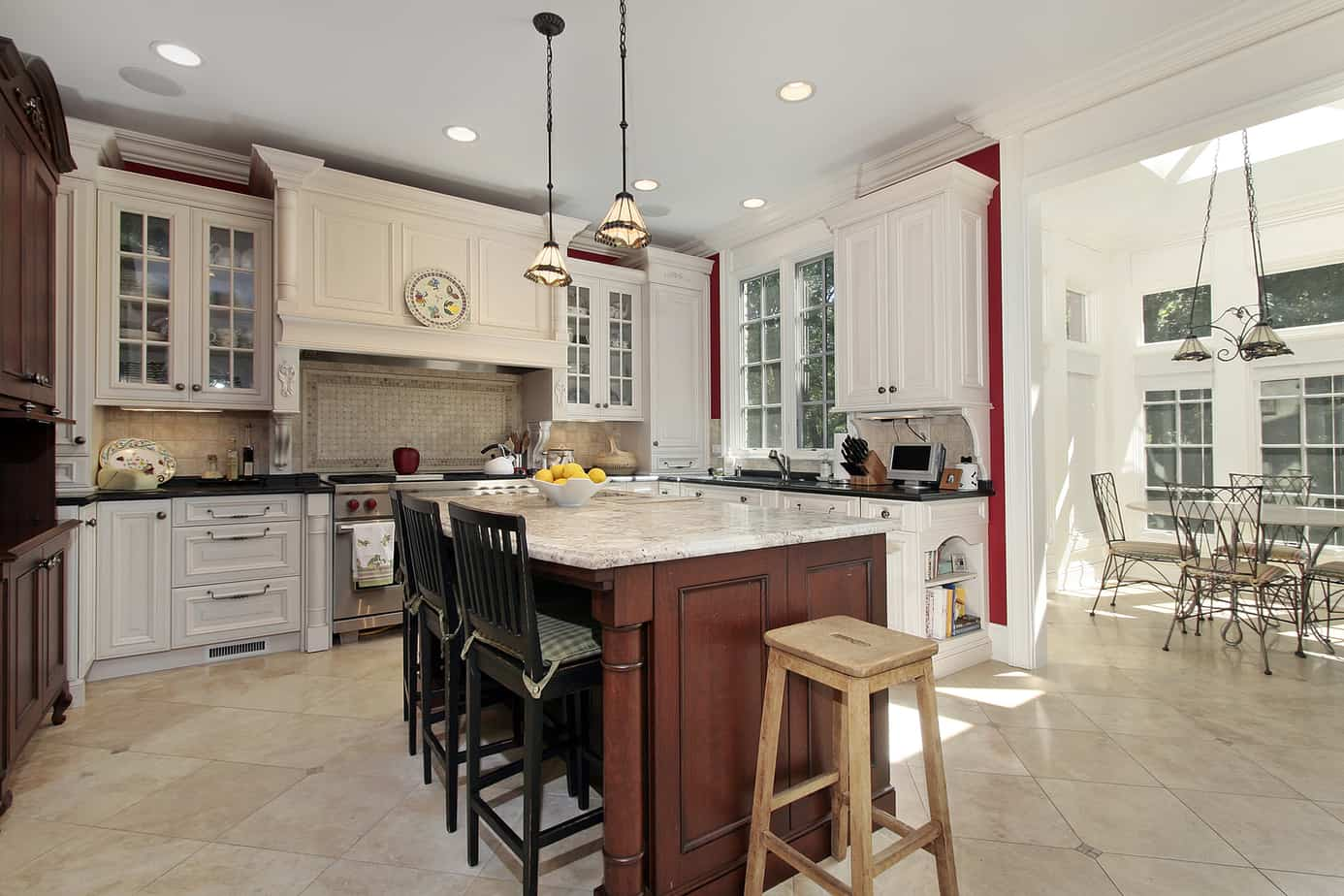 Cozy kitchen with separate eating area and skylight