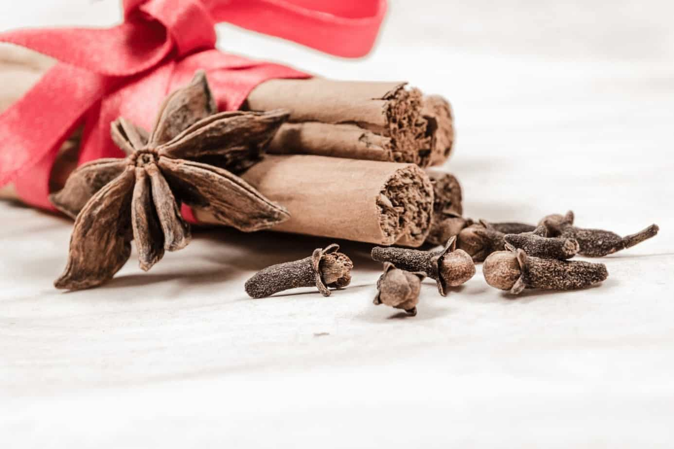 cinnamon sticks and cloves wrapped in with a red tie