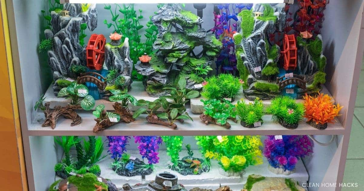 fish tank decorations on dispaly for cleaning fish tank with vinegar