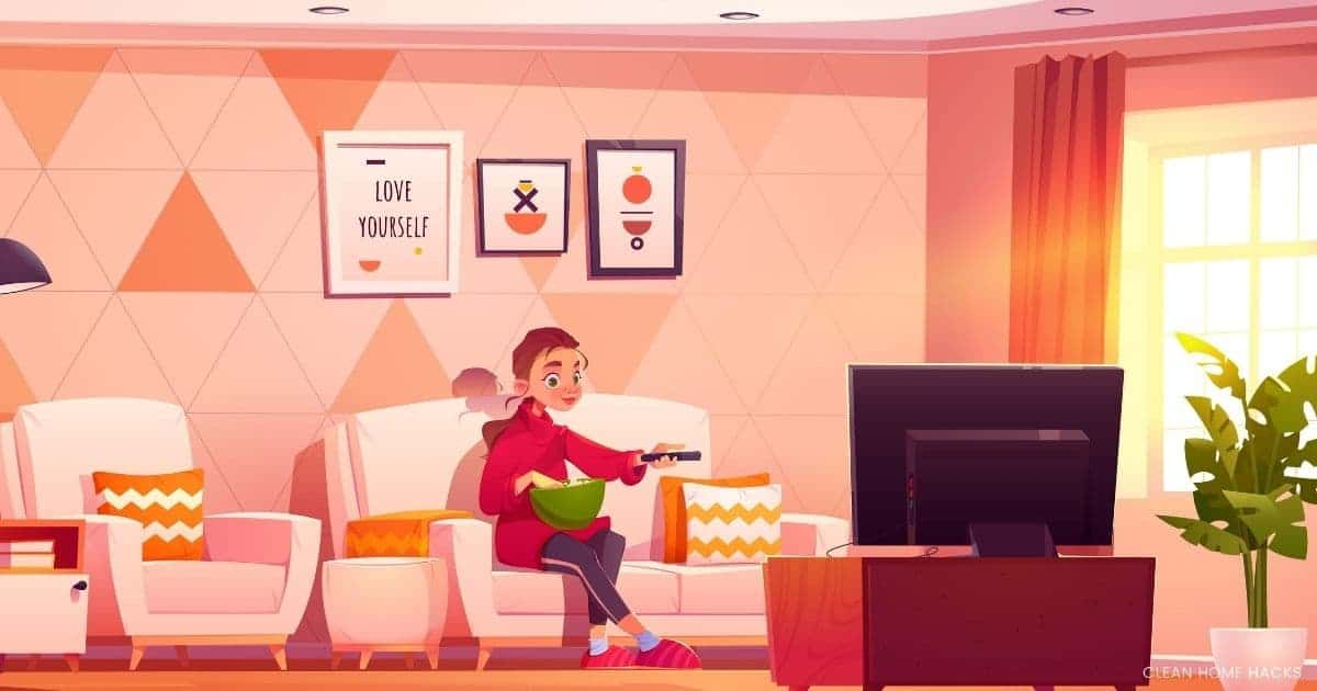 illustrated picture person watching tv for best non smart tv