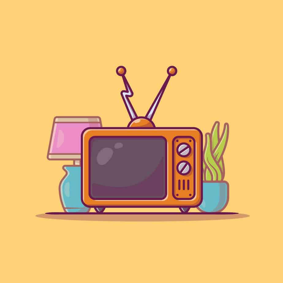 illustration old tv yellow background for best non smart tv